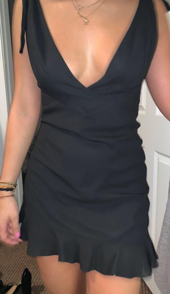 NBD Little Black Dress With Shoulder Ties