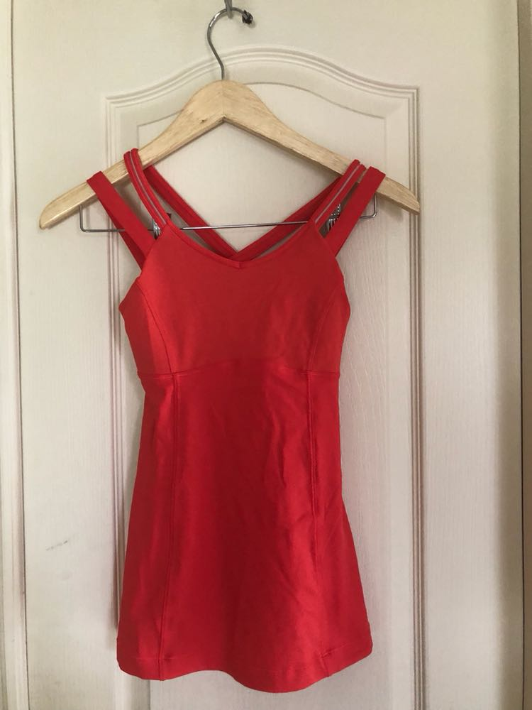 Lululemon Red/orange Strappy Work Out Tank