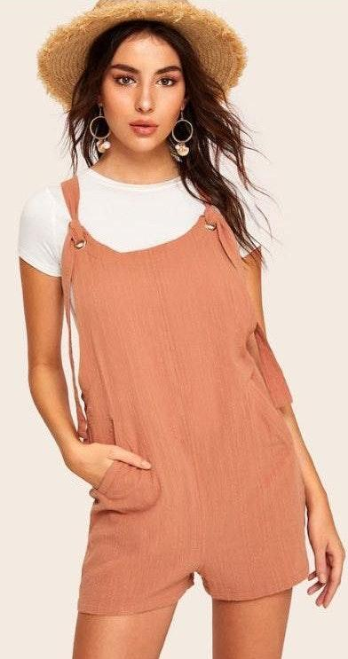SheIn knotted strap detail pocket front overall shorts