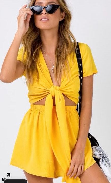 Princess Polly Yellow Tie-Front Romper