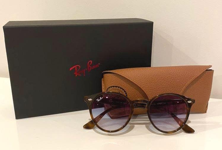 Ray-Ban Gloss Tortoise Frame, Blue Gradient Lens  Sunglasses