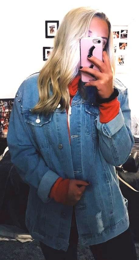 Oversized Denim Stud Jacket