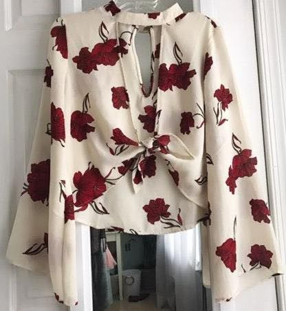 Anthropologie Belle Sleeve Rose Blouse w Tie Front
