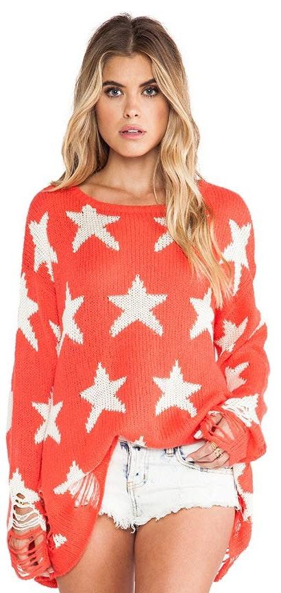 Wildfox Red And White Star Sweater