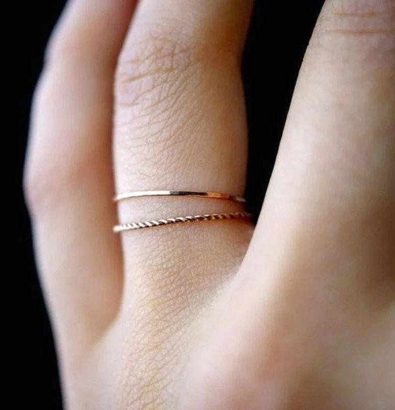 Dainty Thin Ring Set Dipped In Gold...