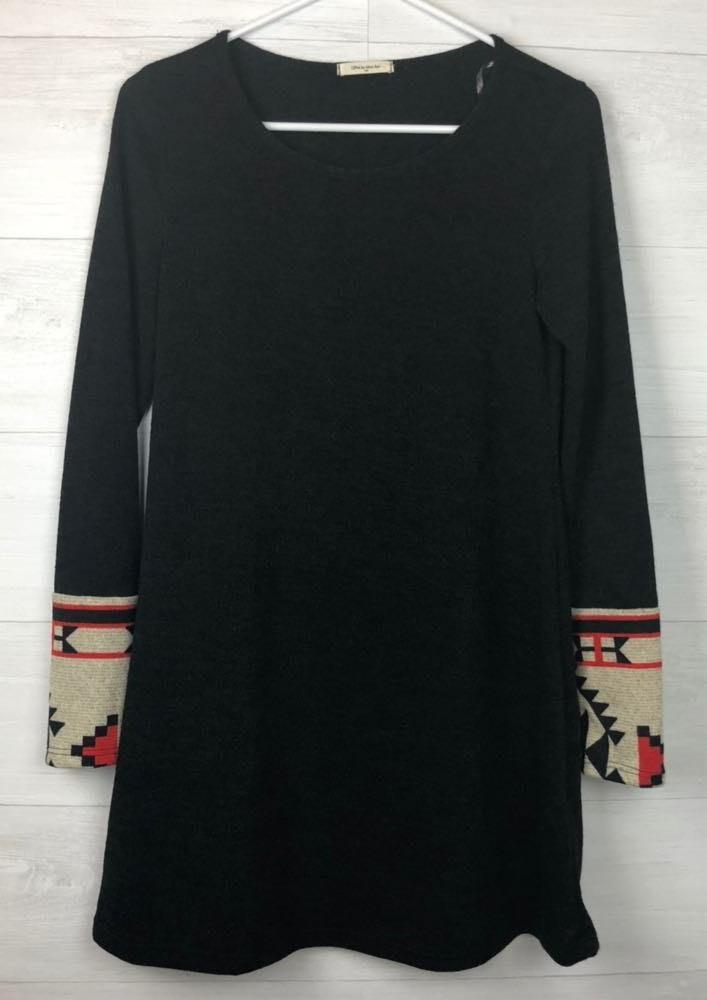 12pm by mon ami Black Aztec Sleeve Dress