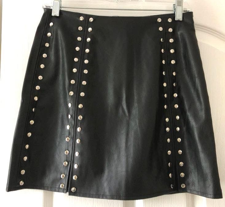 Amazon Black Leather Beaded Skirt