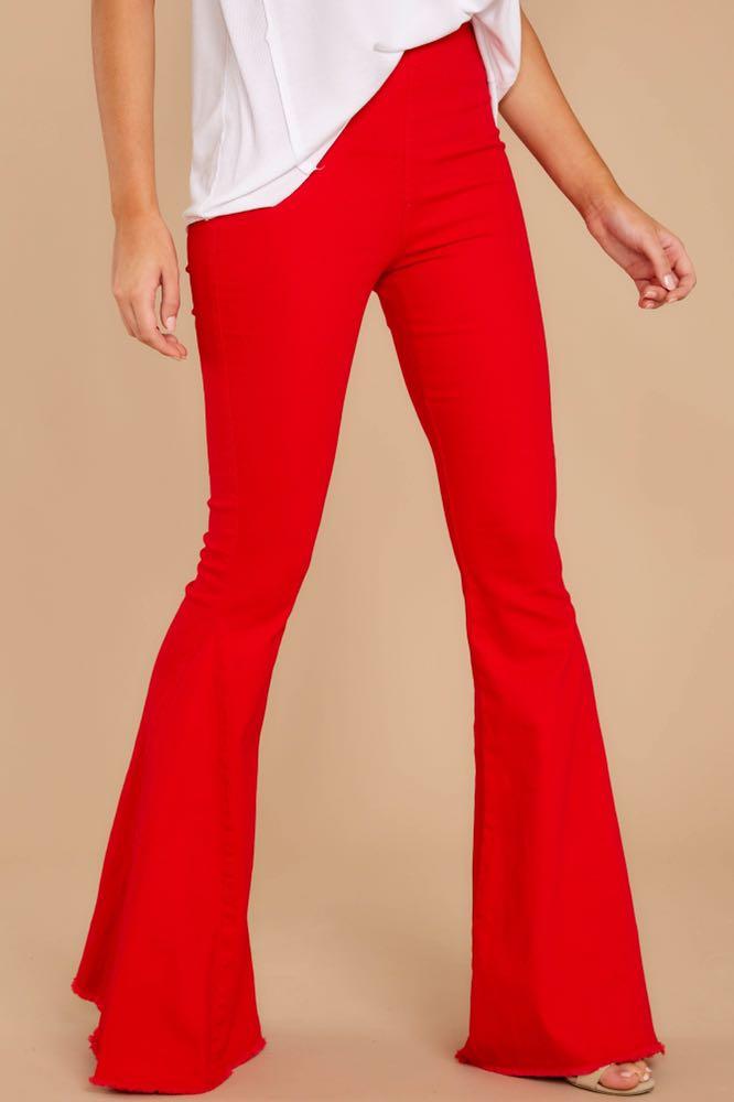 Skylar + Madison Red Flare Elastic Waist Jeans