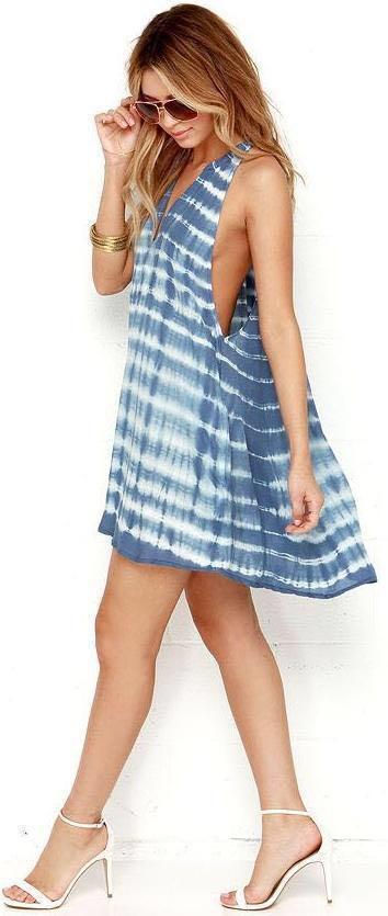 Lulus Obey Jessa Slate Blue Tie-Dye Dress
