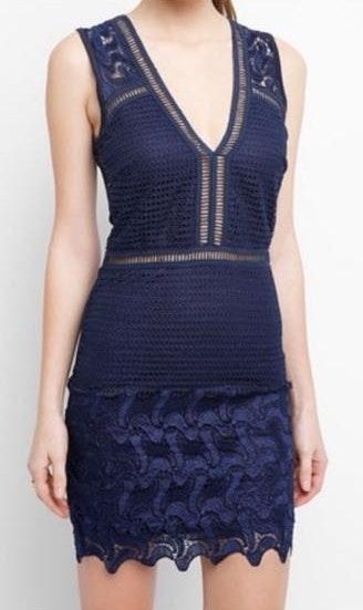 South Moon Under Blue Sleeveless Lace Dress