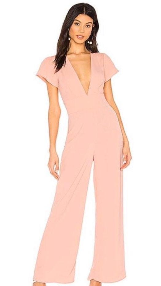 Revolve Light Pink Deep V jumpsuit