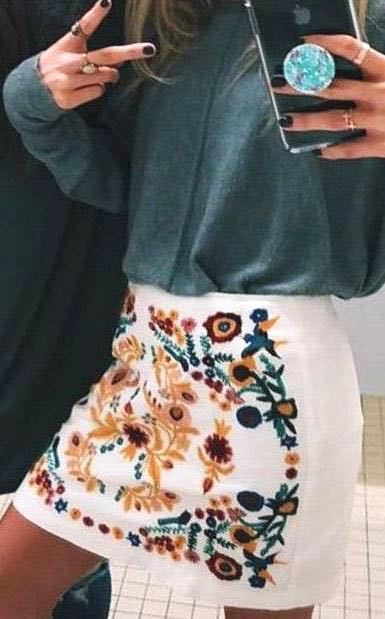 Altar'd State White Skirt With Floral Pattern