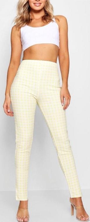Boohoo Gingham Yellow and White pants