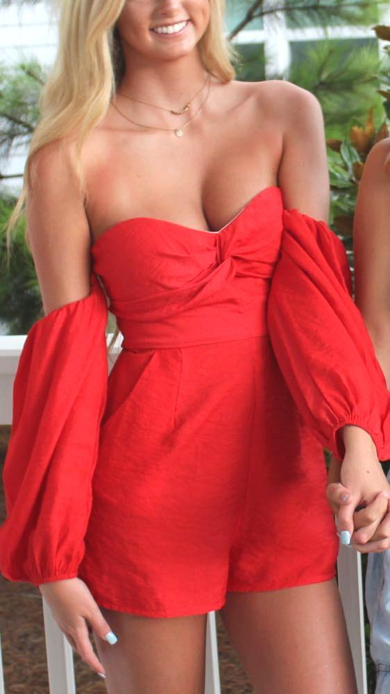 Dress Up Red Off Shoulder Romper