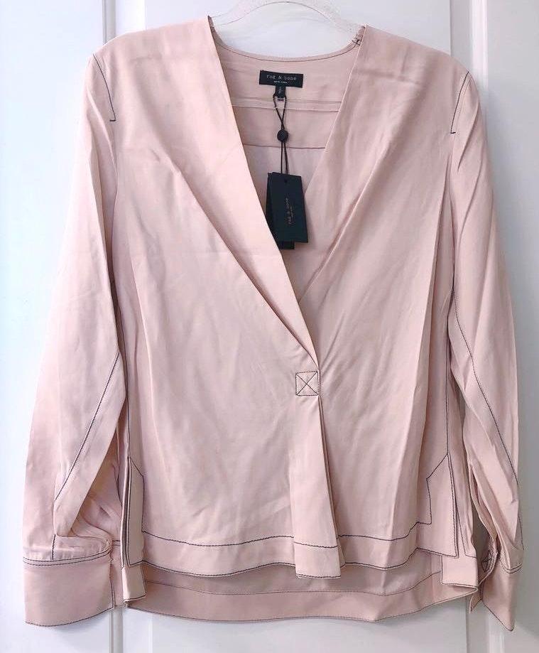 Rag & Bone Shields Silk Drape Front Blouse
