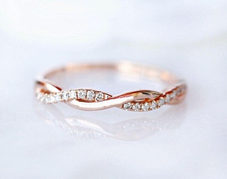 Independent 14K Gold Plated Sterling Silver Rose Gold Twist Eternity Women's Band