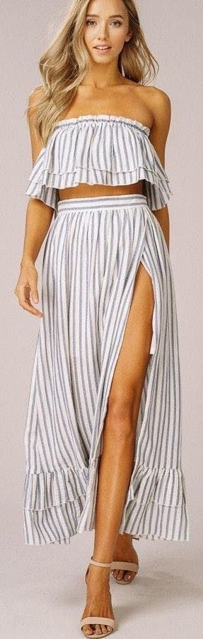Listicle Grey Striped Set