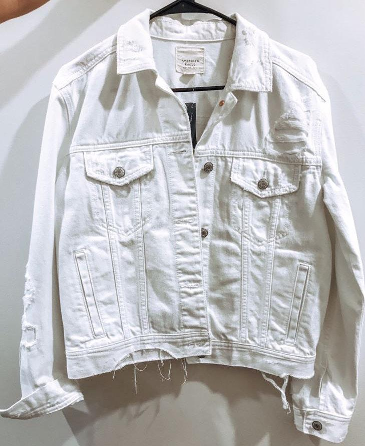 American Eagle Outfitters White denim jacket