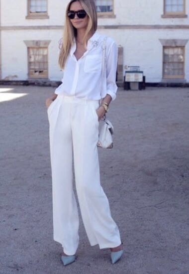 ZARA White Silky Pants