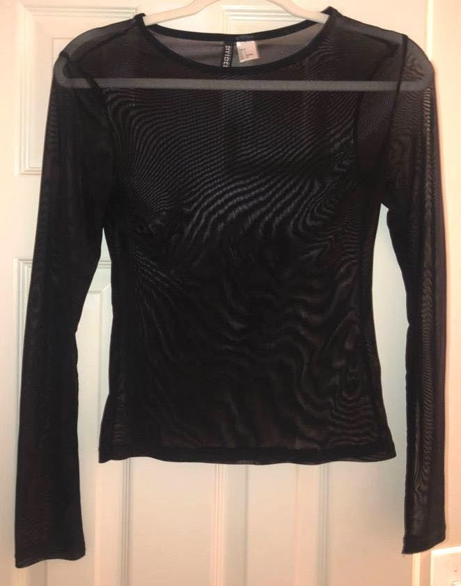 Divided Black Mesh Top