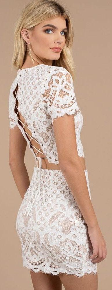 Tobi Two Piece White Lace Set