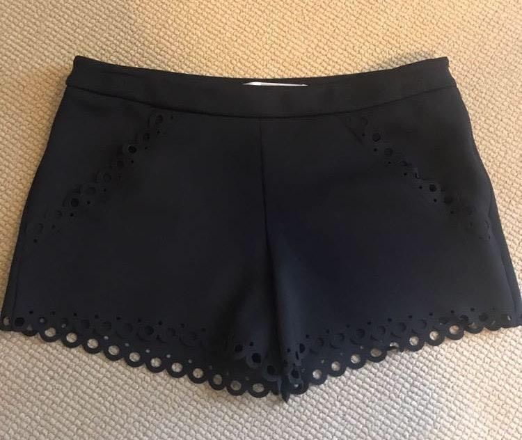 Susana Monaco black scalloped shorts