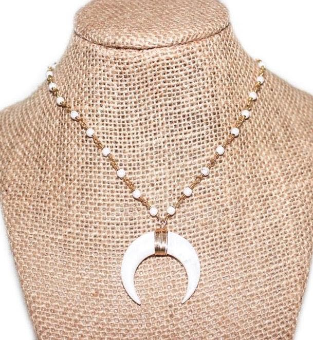 Beaded by Meg White Crescent Necklace