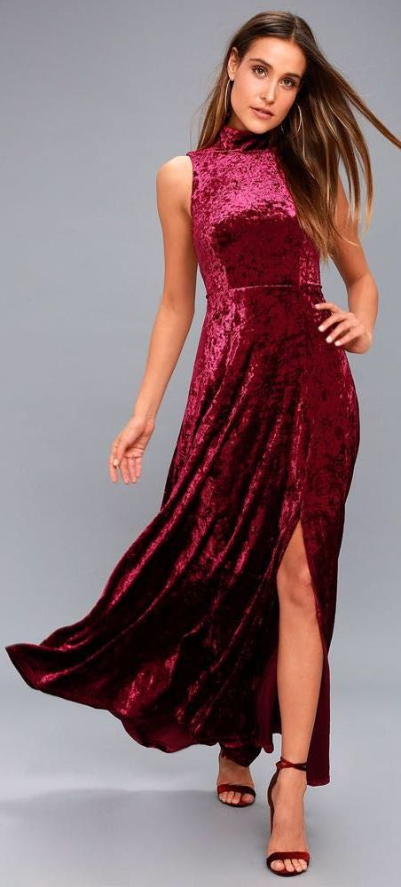 Lulus Burgundy Velvet Dress