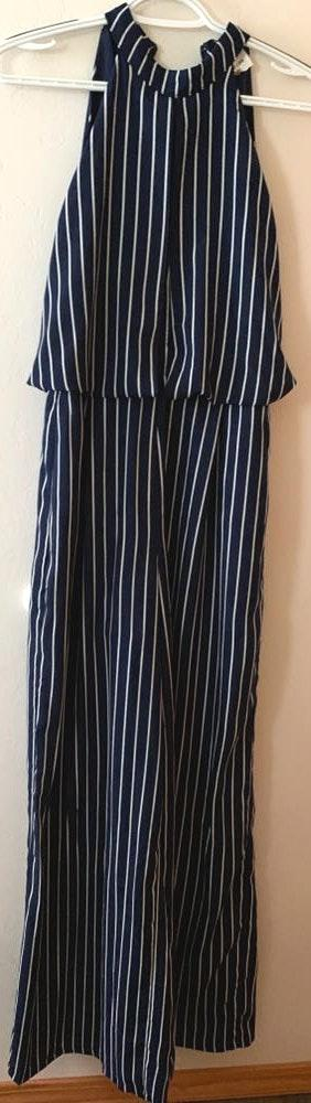 Sugar and L!ps Navy And White Striped Jumpsuit