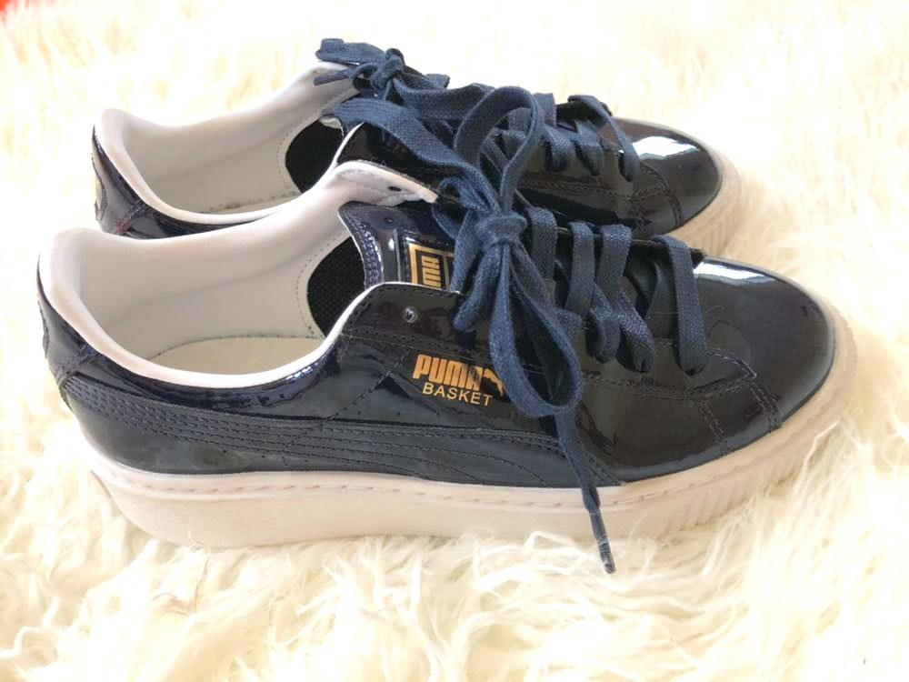 Puma Patent Leather Navy Platform Basket