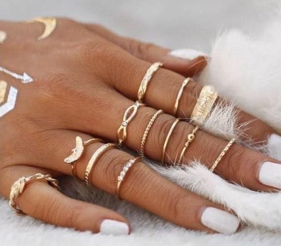 12Pc Gold Tone Boho Style Stack Ring Set