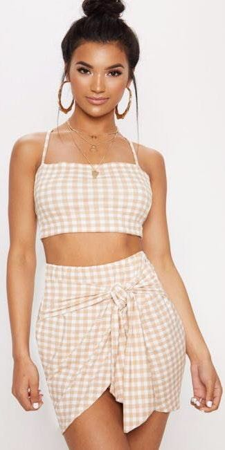 Pretty Little Thing Nude Gingham Two Piece Set