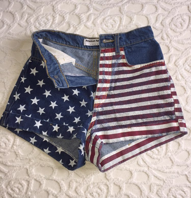 American Apparel American Flag High Waited Shorts