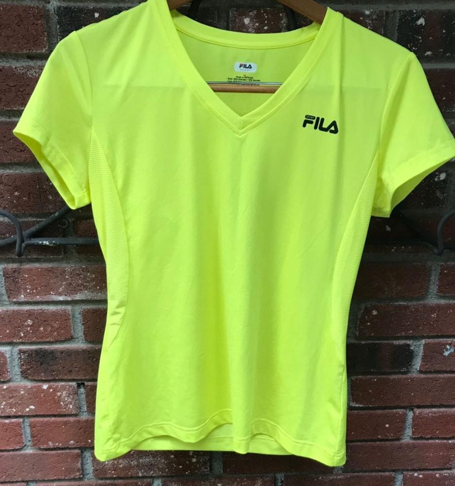FILA Bright Neon Yellow  Workout Shirt Size Medium
