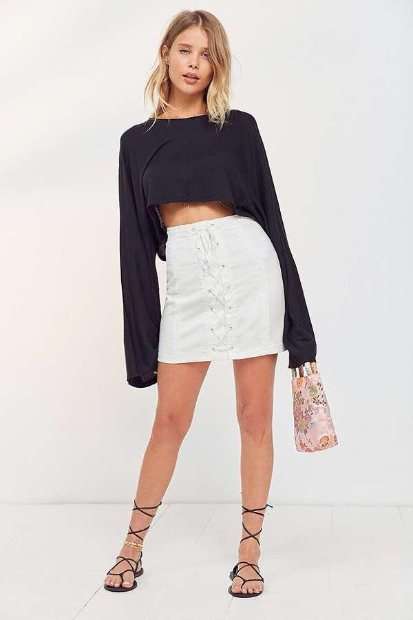Urban Outfitters Silence + Noise White Lace Up Skirt