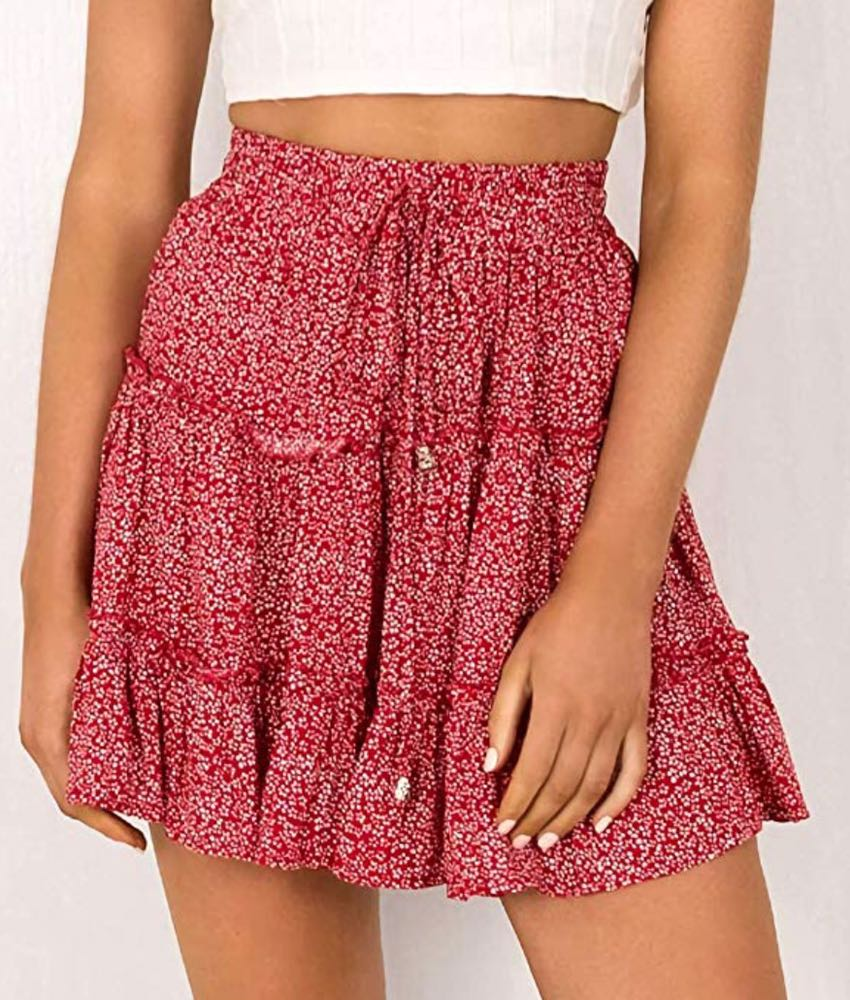 Stelly Red Ruffle Floral Skirt