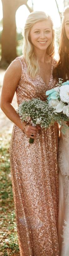 David S Bridal Rose Gold Sequin Bridesmaid Dress Curtsy
