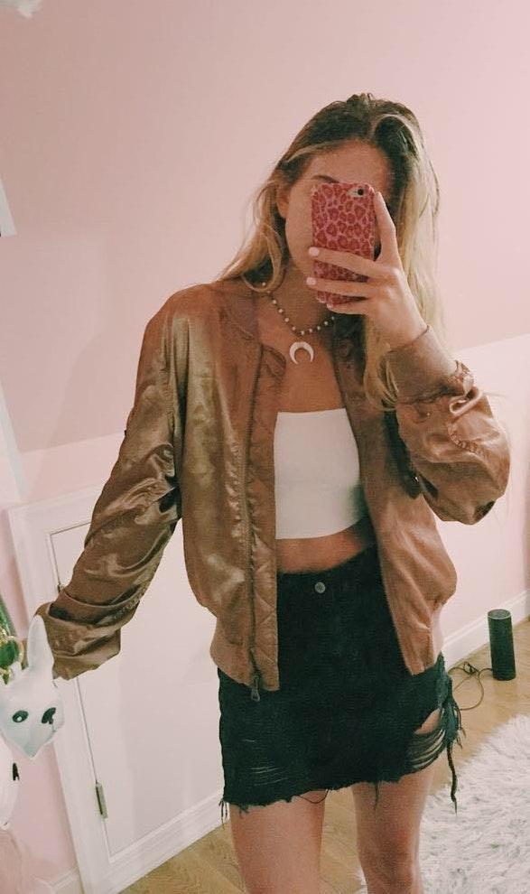 Swoon Boutique rose gold satin bomber jacket