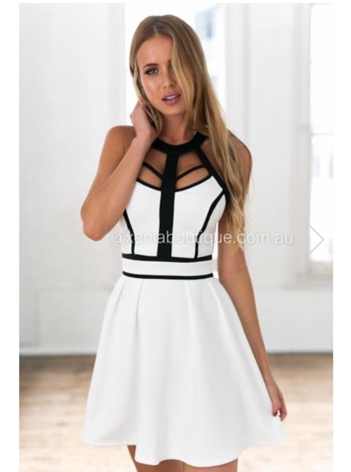 Xenia Boutique White And Black Swing Dress