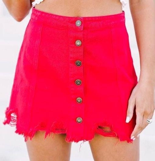 Sadie and Sage Red button up frayed skirt