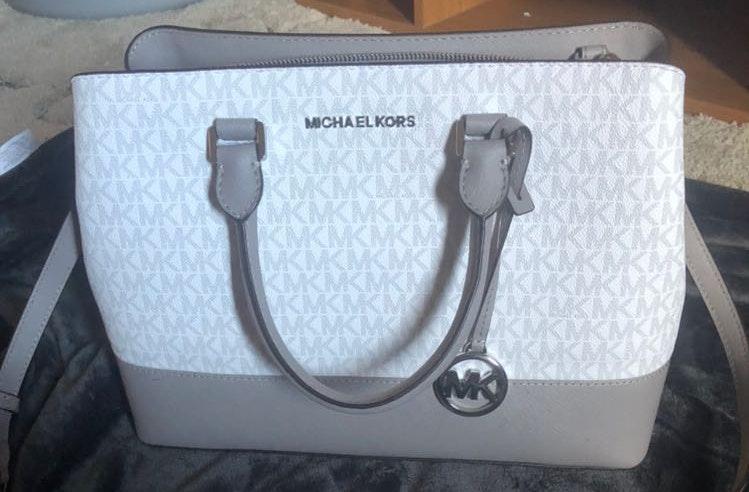 Michael Kors Gray And White Satchel Type Bag