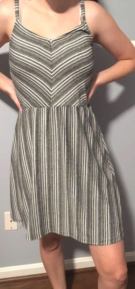 Universal Thread Grey And White Striped Dress
