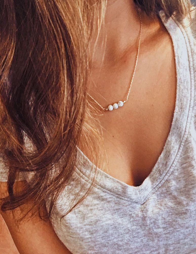Boho Dainty Marble Necklace