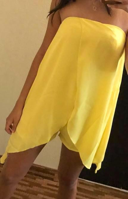 Missguided Yellow Strapless Romper