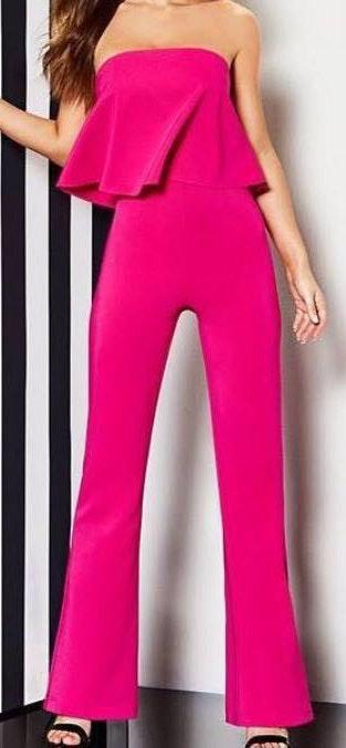 Gianni Bini red strapless ruffle jumpsuit