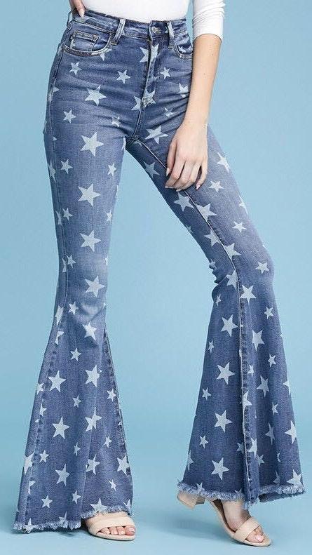 Judy blue Star Print Flare Jeans