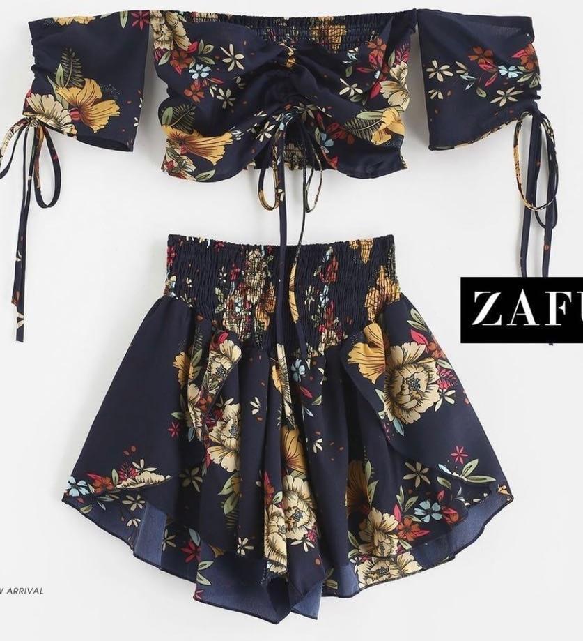 Zaful Short And Crop Top Set