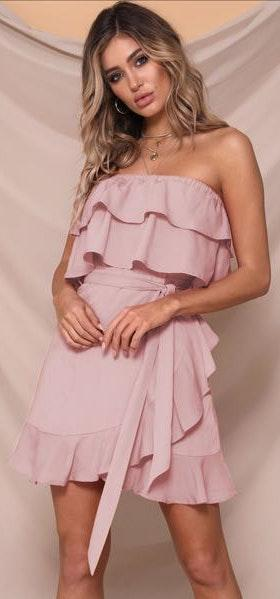 Runaway Clothes Pink Strapless Mini Dress