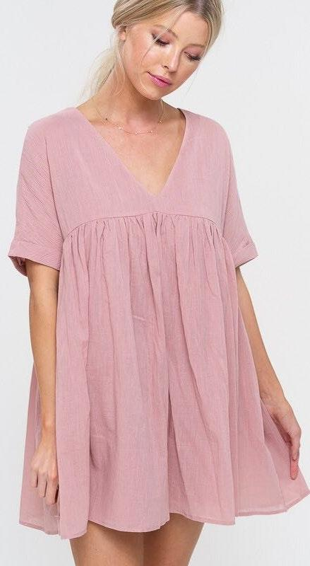 Listicle Pink Swing Babydoll Dress