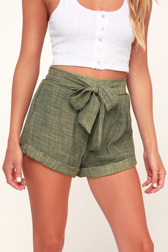 Lulus Tie Front Olive Green Shorts